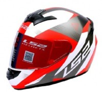 LS2 Trooper Motorsports Helmet(White, Red)