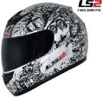 LS2 Lunatic Motorsports Helmet(Glossy White, Black)