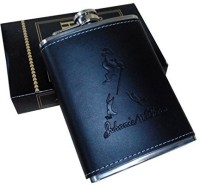 Star Magic Stiched Leather Stainless Steel Hip Flask(236 ml)