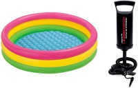Intex Hand Air Pump With 3ft Round Glow Baby Inflatable Pool, Pool Accessory(Multi-Color)
