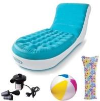 View Intex Blazon Original Splash Lounge PVC 1 Seater Inflatable Sofa(Color - Blue) Price Online(Intex)