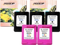Pritop - 802 XL , ink cartridge (3 black and 2 co ) for HP Deskjet 1000 (J110a) 1050 2000 (J210a) 2050 1050A 2050A 3000 3050 3510 3512 1010, 1510 Office jet 2620 4630 Multi Color Ink(Black, Magenta, Cyan, Yellow)