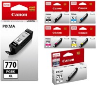 Canon 770 XL & 771 XL BK/C/Y/M/GR [Set of 6] Multi Color Ink(Black, Magenta, Cyan, Yellow)