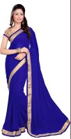 Sourbh Sarees Self Design Fashion Georgette Saree(Blue, Beige)