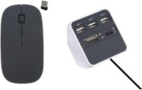 NewveZ All In One 3 Port USB Hub Cum Multi Card Reader With Ultra Slim Wireless Mouse Combo Set
