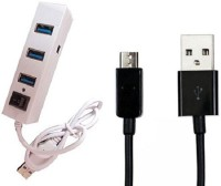 View Ad Net USB 4 Port Hub & USB Data Cable Combo Set Laptop Accessories Price Online(Ad Net)