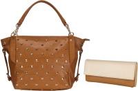 Lychee Bags Women Beige, Brown PU Satchel