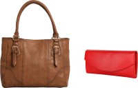 Lychee Bags Women Brown, Red PU Tote