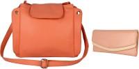 Lychee Bags Women Pink, Beige PU Sling Bag
