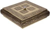 Halowishes Beautiful Golden Meenakari Dryfruit Box Wooden Decorative Platter(Gold)
