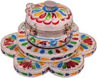 Halowishes Meenakari Work Sinddor Container Showpiece  -  6 cm(Brass, Multicolor)