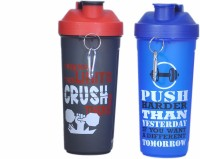 SKI Water Bottle GYM SHAKER BB 600 ml Shaker(Pack of 2, Blue, Black)