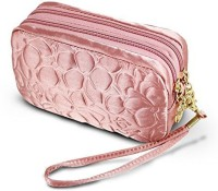 Jacki Design Royal Blossom Collection Compact Cosmetic Organizer With Wristlet (Pink) Cosmetic Bag(Pink)