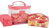Jacki Design Outdoor Travel Miss Cherie 4 Piece Cosmetic Bag Set Coral Cosmetic Bag(Pink)