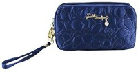 Jacki Design Royal Blossom Collection Compact Cosmetic Organizer With Wristlet (Dark Blue) Cosmetic Bag(Blue)