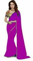 Stylish Sarees Solid Daily Wear Chiffon Saree(Purple)