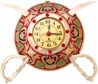 Halowishes Analog 7.5 cm Dia Wall Clock(Shiny Golden, With Glass)