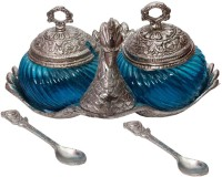 BigCart Stylish Duck shape turquoise glass Double serving bowl with lid and spoon Brass Decorative Platter(Blue, Silver)