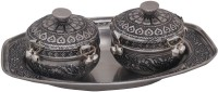 Halowishes Carved Design Serving Tray & 2 Decorative boxes Brass Decorative Platter(Silver, Pack of 3)
