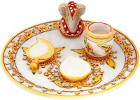 Halowishes Gold Painted Lord Ganesha Idol Marble Pooja & Thali Set(5 Pieces, White)