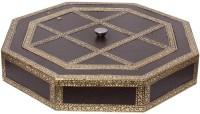 Halowishes Golden Meenakari Dryfruit Box Wooden Decorative Platter(Gold)