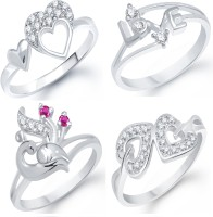 VK Jewels Alloy Cubic Zirconia Rhodium Plated Ring Set