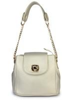 Shoetopia Women Gold PU Sling Bag