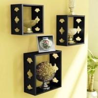 View india wooden hjandicraft wall shelf Wooden Wall Shelf(Number of Shelves - 3) Furniture (India Wooden Handicrafts)