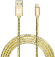 Branko Indestructible Metal Braided Tough Charge & Sync Lightning Cable(Gold)