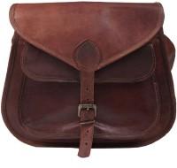Pranjals House Women Brown Genuine Leather Sling Bag