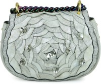 Da Milano Women Silver Genuine Leather Sling Bag