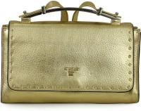 Da Milano Women Gold Genuine Leather Sling Bag