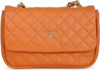 Da Milano Women Orange Genuine Leather Sling Bag