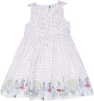 United Colors of Benetton Girls Midi/Knee Length Casual Dress(White, Sleeveless)