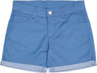 United Colors of Benetton. Short For Girls Casual Solid Cotton Polyester Blend(Blue, Pack of 1)