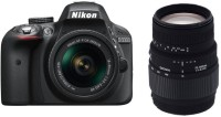 Nikon D3300 DSLR Camera With Sigma 70 - 300 mm F4-5.6 DG Macro for Nikon Digital SLR Lens(Black)