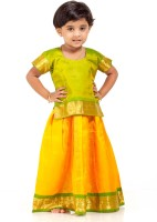 Kanakadara Girls Lehenga Choli Ethnic Wear Self Design Lehenga Choli(Multicolor, Pack of 1)