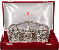 INTERNATIONAL GIFT Silver Plated Laxmi Ganesh Sarswati God Idol with Beautiful Velvet Box Packing (16 cm, Silver) Exclusive Gift for Diwali Gift Items, Wedding Gift Items and Corporate Gift Items Showpiece Gift Set