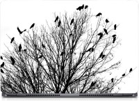 Ganesh Arts Silhouette Tree with Crowded Birds Sparkle Laptop Skin with Screen Protector & KeyGuard Skin HD High Quality Eco vinyl Laptop Decal 15.6