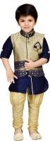 AJ Dezines Boys Festive & Party Kurta, Waistcoat and Pyjama Set(Blue Pack of 1)