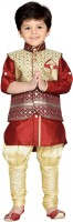 AJ Dezines Boys Festive & Party Kurta, Waistcoat and Pyjama Set(Maroon Pack of 1)