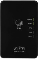 CROCON Wireless 802.11N/B/G WPS 300Mbps WiFi Repeater Network AP Router Plug Range Signal Expander Booster Extend Amplifier Network Interface Card(Black)