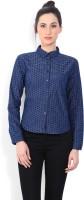 Wrangler Women Self Design Casual White, Blue Shirt