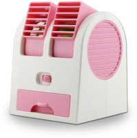View ShopyBucket Chargeble Dual Bladeless Mini Fresh Air Cooler COL_3 USB Fan(Pink, White) Laptop Accessories Price Online(ShopyBucket)