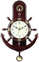 Factorywala Analog 40 cm X 30 cm Wall Clock(Brown, With Glass)