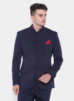 Whimsical Solid Mandarin Wedding, Party, Festive Men Blazer(Blue)