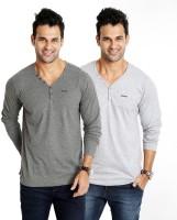 Rodid Solid Mens V-neck Grey T-Shirt(Pack of 2)