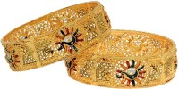 Zeneme Copper Gold-plated Bangle Set(Pack of 2)