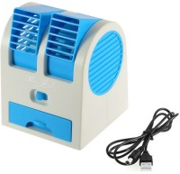 View NewveZ Portable Mini Air Conditioner Dual-Port Bladeless USB Fan(Blue, White) Laptop Accessories Price Online(NewveZ)