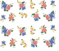 SENECIO� Rose Bunch Multicolor Style - 6 Nail Art Manicure Decals Water Transfer Stickers Sheet(Multicolor)
